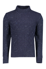 Front view image of Inis Mián Men's High Crew Neck Sweater Navy
