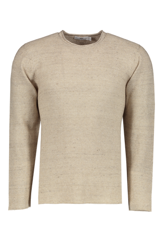 Front Image Of Low Mock Neck Tunic Sweater Almond
