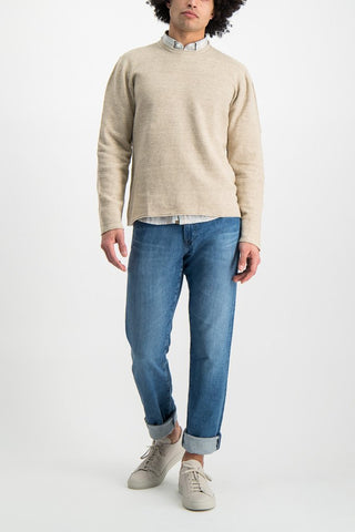 Full Body Image of Model Wearing Low Mock Neck Tunic Sweater Almond