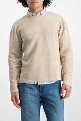 Front Crop Image of Model Wearing Low Mock Neck Tunic Sweater Almond