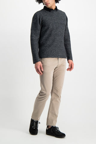 Full Body Image Of Model Wearing Low Mock Neck Tunic Sweater Stone