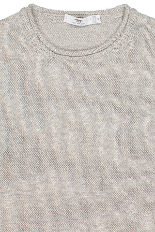 Front collar detail image of Inis Meáin Men's Roll Trim Tunic Sweater Oatmeal