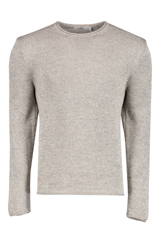 Front view image of Inis Meáin Men's Roll Trim Tunic Sweater Oatmeal