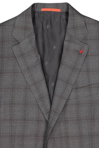 Lapel Detail Aquaspider Charcoal/Brown Windowpane Single Breasted Suit