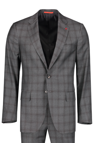 Front Image Aquaspider Charcoal/Brown Windowpane Single Breasted Suit
