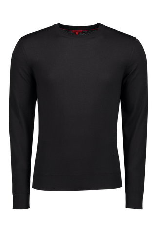 Front Image Black Crewneck Sweater
