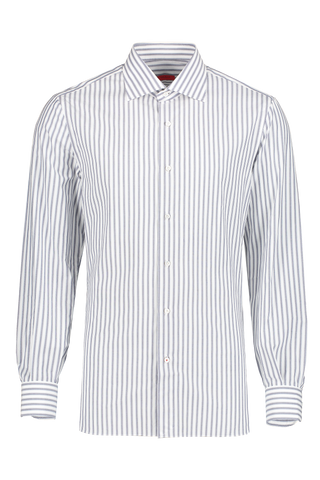 Front view image of Isaia Blue Grey Stripe Dress Shirt