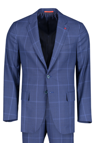 Front view image of Isaia Blue Macro Suit