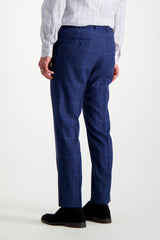 Back Crop Image Of Model Wearing Isaia Blue Macro Suit Trouser