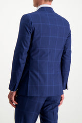 Back crop Image Of Model Wearing Isaia Blue Macro Suit