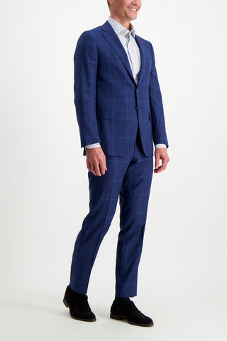 Full Body Image Of Model Wearing Isaia Blue Macro Suit