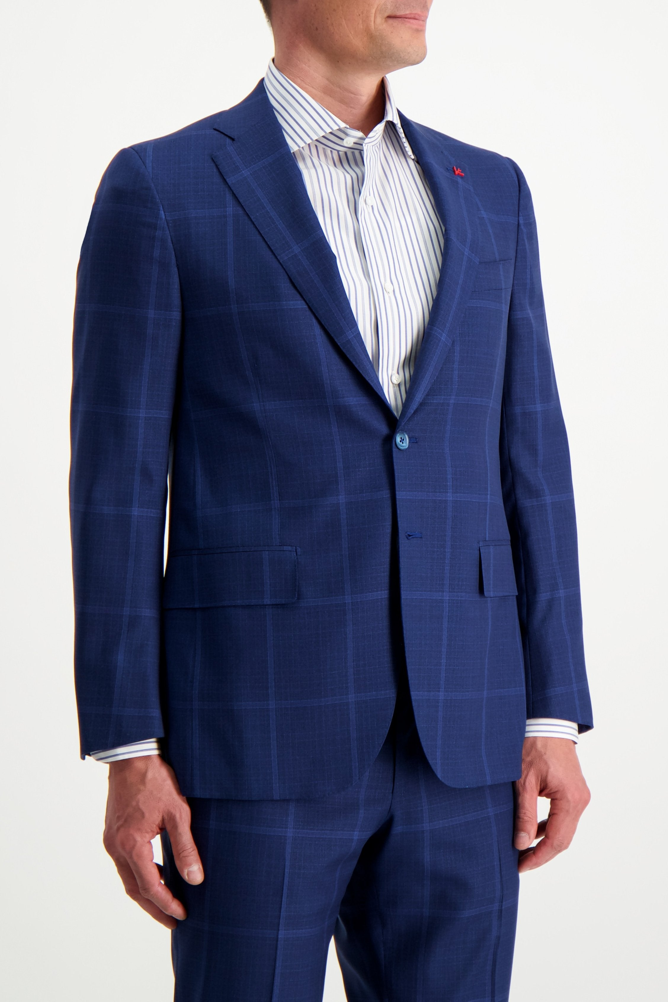 Front Crop Image Of Model Wearing Isaia Blue Macro Suit