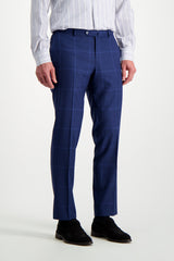 Front Crop Image Of Model Wearing Isaia Blue Macro Suit Trouser