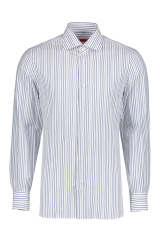 Front view image of Isaia Blue Stripe Dress Shirt