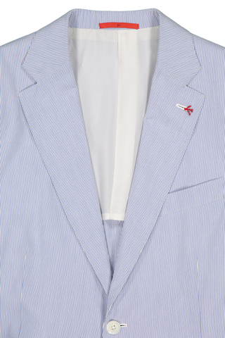 Front collar and lapel detail image of Isaia Blue White Pincord Suit