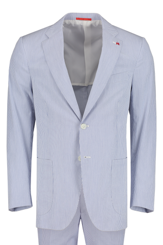 Front view image of Isaia Blue White Pincord Suit