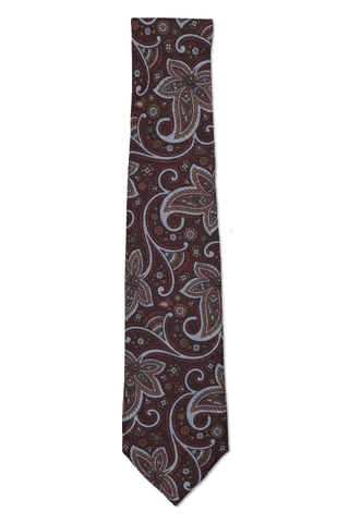 Isaia Front Image Brown/Burgundy Patterned Tie