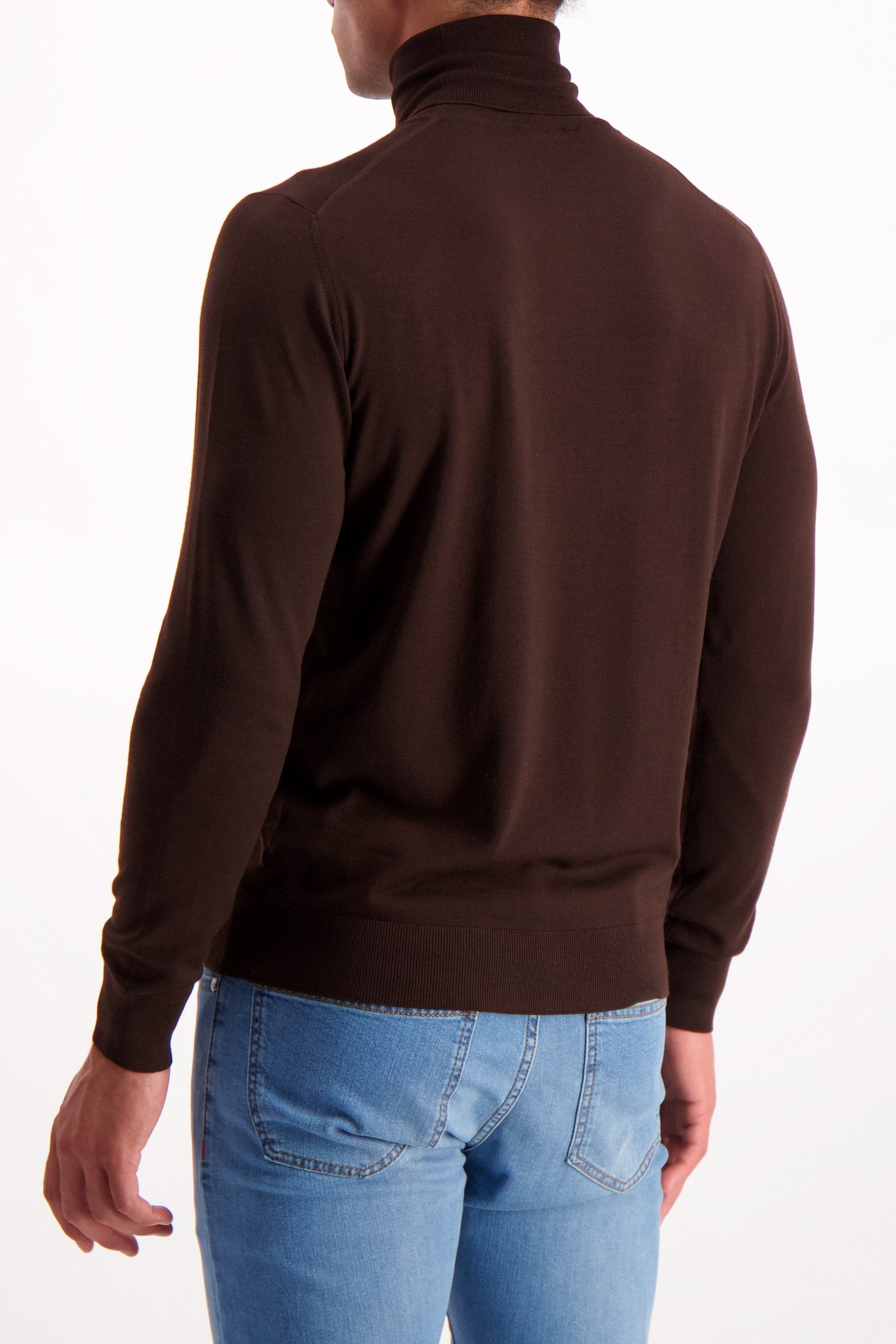 Back Crop Image Of Model Wearing Isaia Brown Turtleneck Sweater