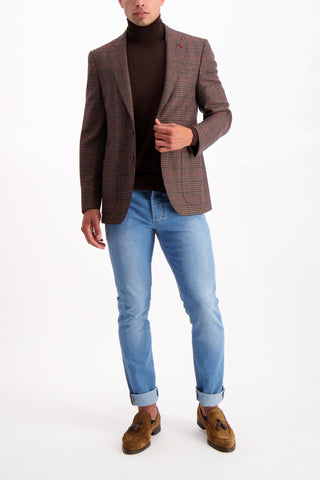 Full Body Image Of Model Wearing Isaia Brown Turtleneck Sweater