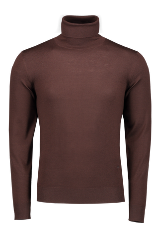 Front Image Brown Turtleneck Sweater