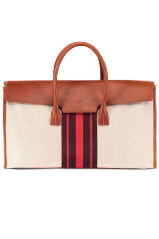 Canvas Overnight Bag with Red Stripe