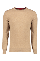 Front image of Isaia Cashmere Crewneck Sweater Camel