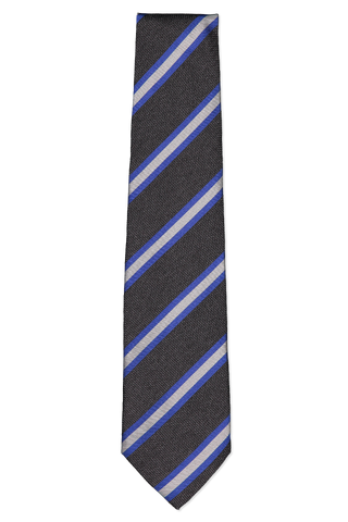 Front image of Isaia Charcoal Tie with Blue Stripe