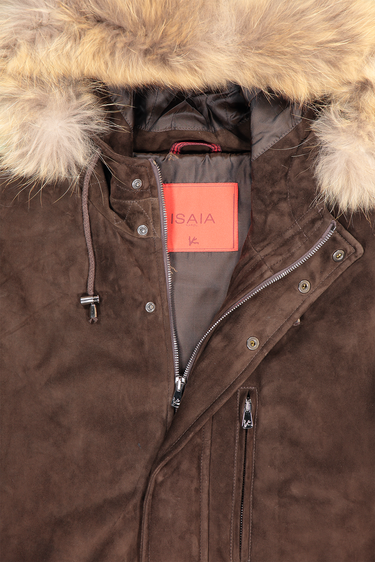 Collar detail image of Isaia Crown Aqua Suede Parka
