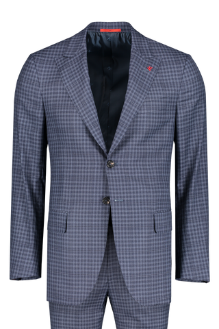 Isaia Suit and Pants Image Delain Demier Design Single Breasted Check Suit