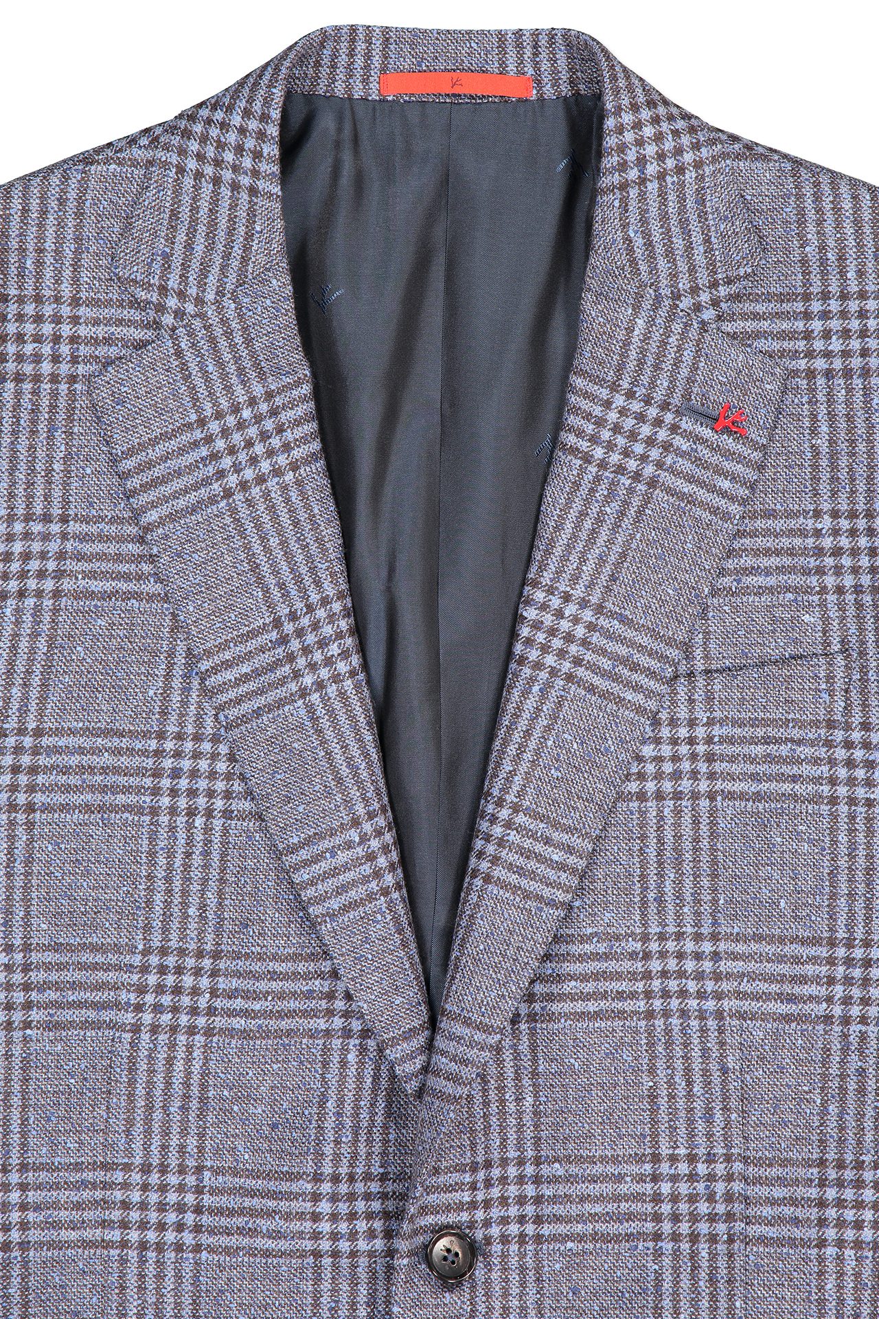 Isaia Lapel Detail Donegal Boucle Glen Plaid Sportcoat