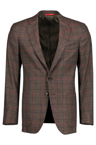 Front Image Giacca Charcoal/Tan Glen Plaid with Red Windowpane
