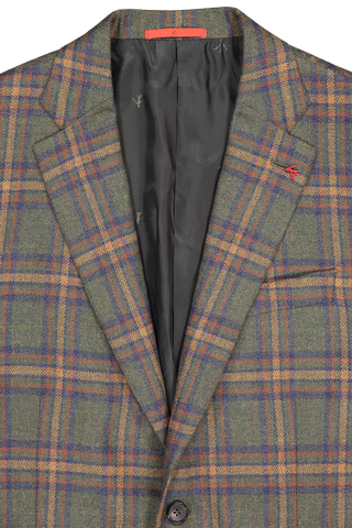 Lapel detail image of Isaia Giacca Plaid Sportcoat