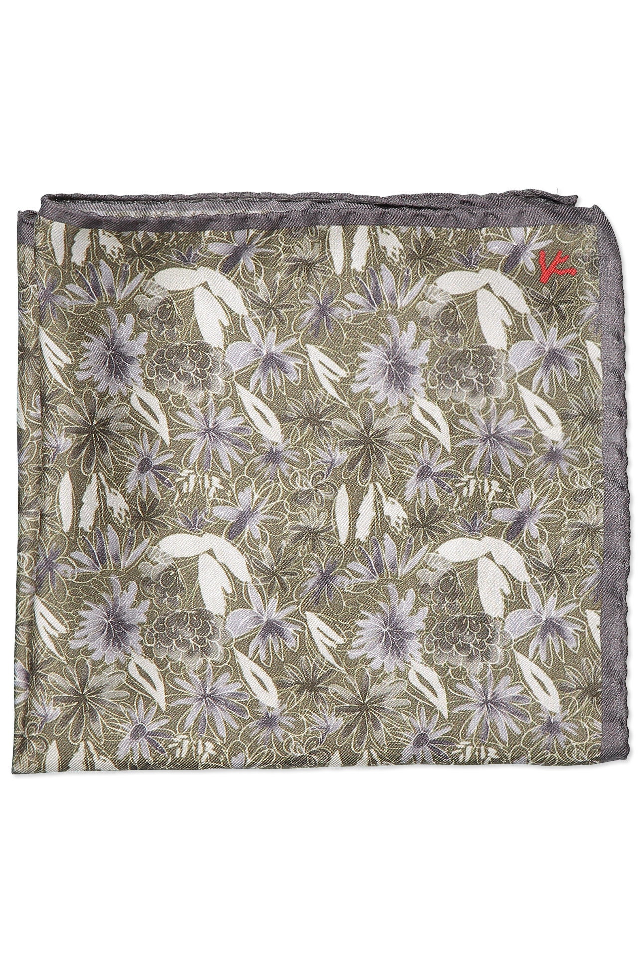 Green and Grey Floral Pocket Square