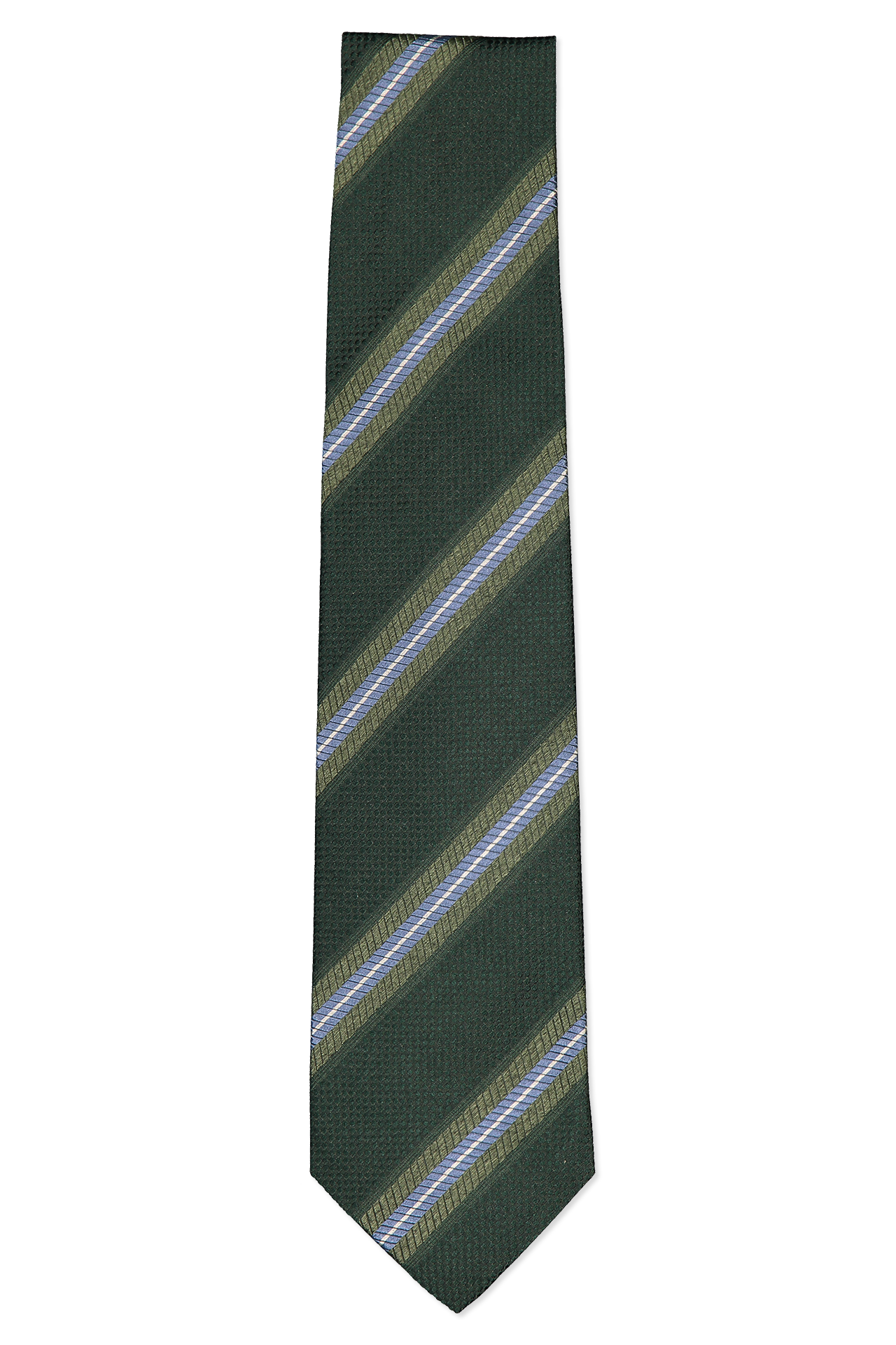 Front image of Isaia Green Tie with Blue Stripe