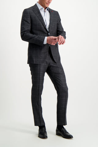 Full Body Image Of Model Wearing Isaia Grey Luxury Linen Suit