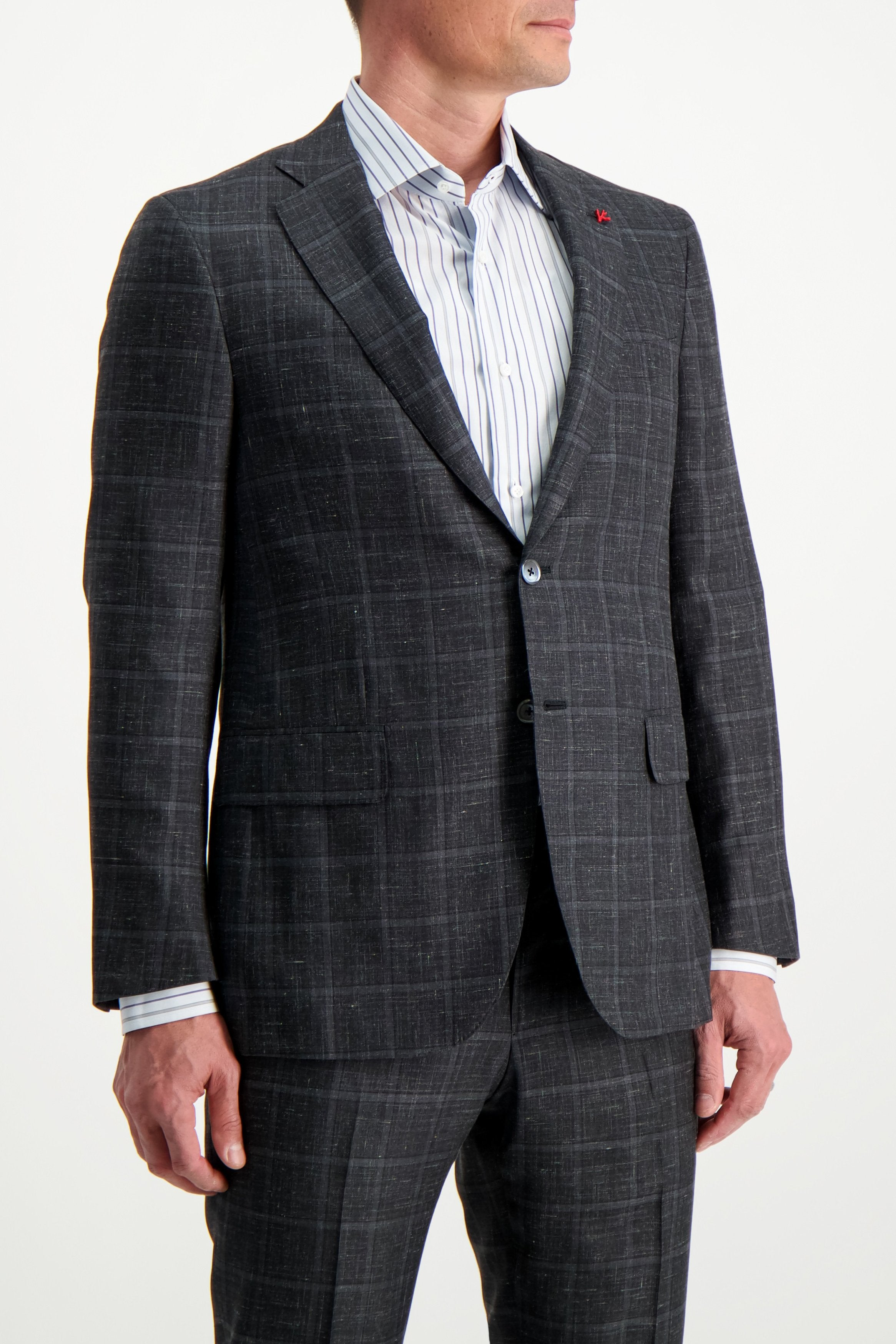 Front Crop Image Of Model Wearing Isaia Grey Luxury Linen Suit