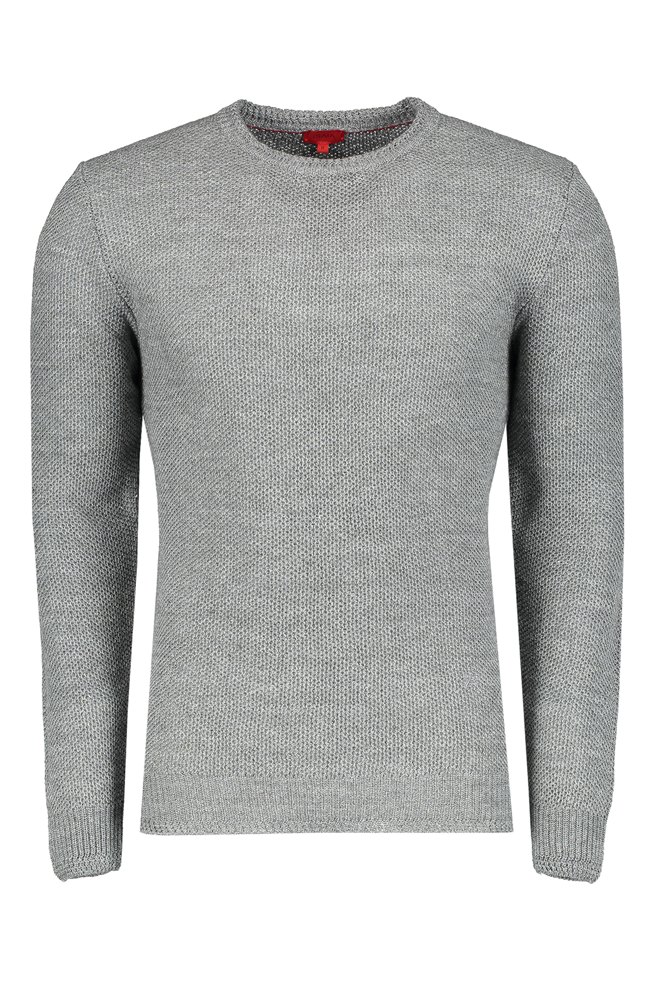 Front Image Of Grey Solid Linen Wool Sweater