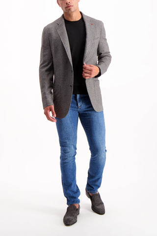 Full Body Image Of Model Wearing Isaia Grey Textured Jersey Jacket