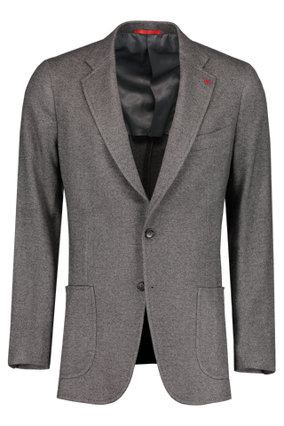 Front Image Grey Textured Jersey Jacket