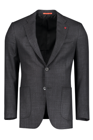 Front view image of Isaia Hopsack Silk Jacket