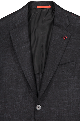 Front collar and lapel detail image of Isaia Hopsack Silk Jacket