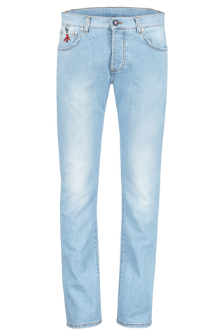 Front Image Of Isaia Light Wash Classic Denim