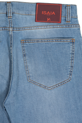 Back Pocket Detail Light Wash Denim