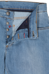 Button Fly Closure Detail Light Wash Denim