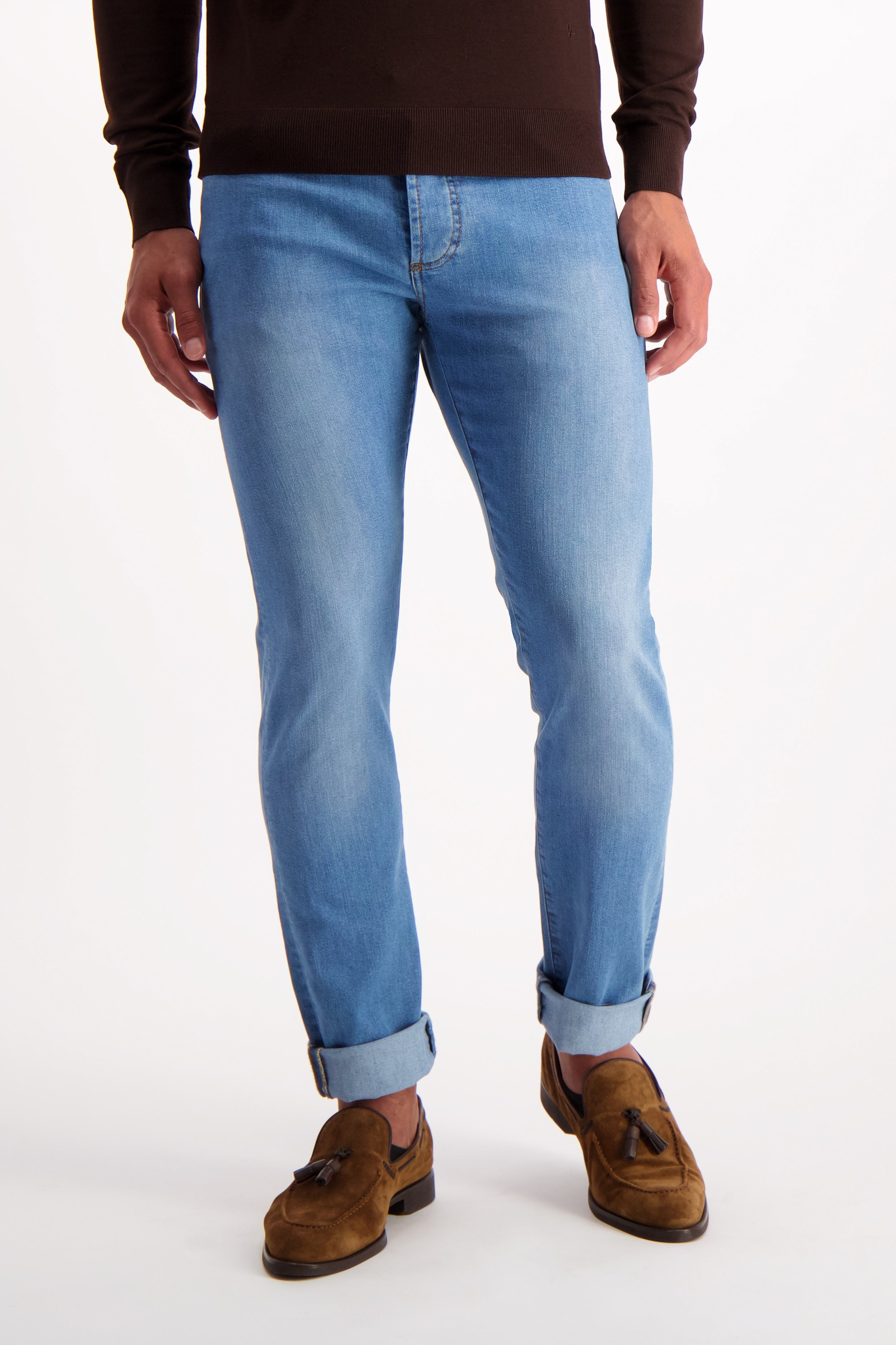 Front Crop Image of Isaia Light Wash Denim