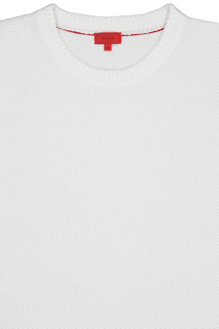Linen Wool Honeycomb Sweater White