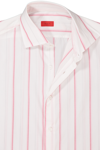 Long Sleeve Pink/Grey Wide Stripe Dress Shirt