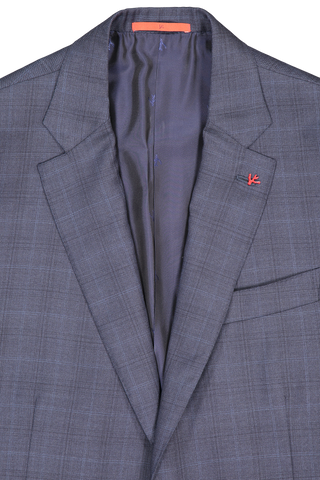 Front collar and lapel detail image of Isaia Men's 15 Micron Blue Plaid Single Breasted Suit