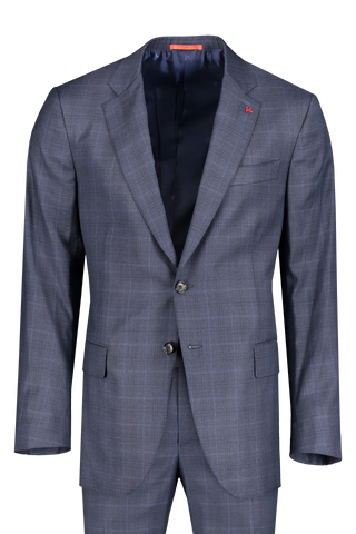 Front image of Isaia Men's 15 Micron Blue Plaid Single Breasted Suit