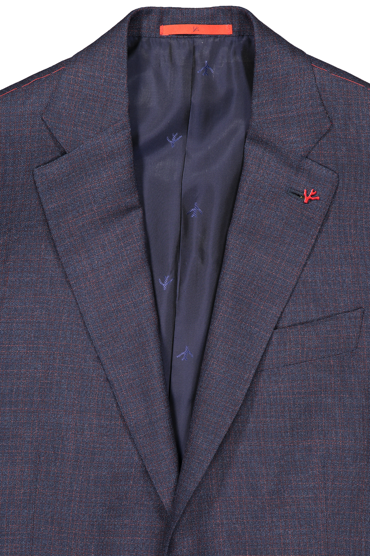 Front collar and lapel detail image of Isaia Navy Silky Linen Suit
